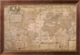 Map World-Antique Paper 1500's Prints by Gerardus Mercator