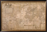 Map World-Antique Paper 1500's Posters by Gerardus Mercator