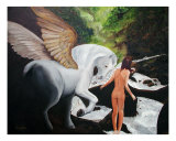 Pegasus And A Muse Giclee Print by Scott Shiffer