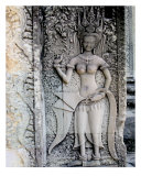 Stone Engraving, Angkor Wat Temple, Cambodia Photographic Print by Kim Digiulio