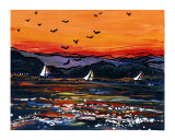 Orange Sky Sail Boats Giclee Print by Rose Jaimison