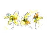 Three Yellow Flowers Fotodruck von Jan Weiss