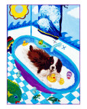 Springer Spaniel In A Tub, Rub A Dub Giclee Print by Louise Francke