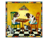 Springer Spaniels Chess Game Giclee Print by Louise Francke