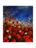 Red Poppies Against A Stormy Sky Posters por  Ledent