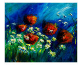 Red Poppies And Daisies Giclee Print by Veronique Radelet