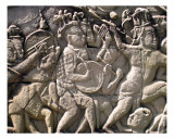 Stone Engraving of Battle, Angkor Thom, Cambodia Photographic Print by Kim Digiulio