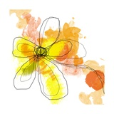 Yellow Liquid Flower Poster von Jan Weiss