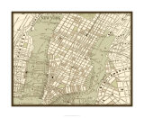 Sepia Map of NY Premium Giclee Print by Vision Studio