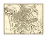 Sepia Map of Rome Premium Giclee Print by  Vision Studio