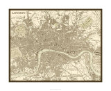 Sepia Karte von London Giclée-Premiumdruck von  Vision Studio