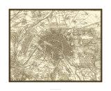 Sepia Map of Paris Reproduction procédé giclée Premium par Vision Studio