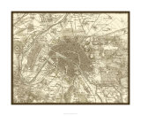 Sepia Map of Paris Premium Giclee Print by  Vision Studio