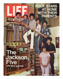 The Jackson Five with their Father and Mother, Joseph and Katherine, September 24, 1971 Fototryk i høj kvalitet af John Olson