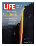 California, Embers Falling from Cliff at Yosemite at Dusk, October 19, 1962 Premium Photographic Print by Ralph Crane