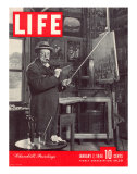 Winston Churchill at a Painting Easel, January 7, 1946 Photographic Print by Hans Wild