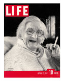 English Centenarian Smoking a Cigarette, April 12, 1937 Photographic Print