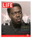 Happy Easter, Comic Actor Bernie Mac with White Rabbits on Shoulders, March 25, 2005 Photographic Print by Karina Taira