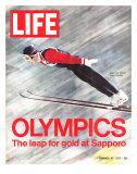 Olympics, Ski Jumper Yukio Kasaya, February 18, 1972 Premium fotografisk trykk av John Dominis