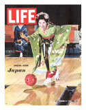 Special Issue: Japan, Woman in Kimono Bowling, September 11, 1964 Photographic Print by Larry Burrows
