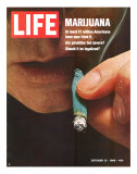 Marijuana, Man with Joint by his Mouth, October 31, 1969 Premium Photographic Print by Co Rentmeester