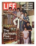 The Jackson Five with their Father and Mother, Joseph and Katherine, September 24, 1971 Fototryk i høj kvalitet af John Olson