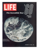 1968 Special Issue, NASA Shot of Earth from Space, Apollo 8 Mission, January 10, 1969 Reproduction photographique Premium