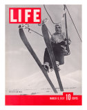 Skier Riding the Chair Lift at Sun Valley Ski Resort, March 8, 1937 Premium fotoprint van Alfred Eisenstaedt