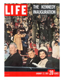 Newly-Elected President John F. Kennedy and Wife Jacqueline Enroute to the White House, January '61 Premium Photographic Print by Leonard Mccombe