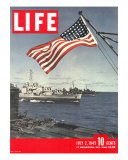 American Flag over US Ships at Sea, July 2, 1945 Premium Photographic Print by Eliot Elisofon