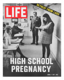 Pregnant Teenager Reading in Front of Class, April 2, 1971 Photographic Print by Ralph Crane