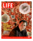 Alexander Tsiaras in Front of Computer Enhanced Visualization of Blood Cells, August 26, 2005 Photographic Print by Joseph Astor