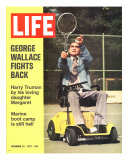 George Wallace in Wheelchair, About to Hit Tennis Ball, November 24, 1972 Photographic Print by Bill Eppridge