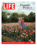 Two Girls Sharing a Secret Standing in Tulip Beds at a Dallas Flower Show, April 29, 2005 Photographic Print by Greg Miller