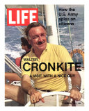 Walter Cronkite at Wheel of Boat, March 26, 1971 Photographic Print by Leonard Mccombe