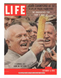 Russian Premier Nikita Khrushchev Holding Up Ear of Corn During Tour of US, October 5, 1959 Photographic Print by Hank Walker
