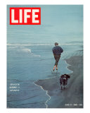 Robert F. Kennedy Jogging on the Beach with his Dog, June 14, 1968 Premium Photographic Print by Bill Eppridge