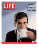 Comic Actor Steve Carell Drinking from a Cup, September 30, 2005 Premium Photographic Print by Chris Buck