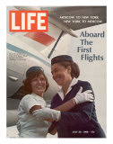 American Pan Am Stewardess Sicari Embracing Russian Aeroflot Stewardess Arutyunova, July 25, 1968 Photographic Print by Arthur Schatz