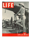 Shorts Clad War Worker Helping Build and Maintain Aircrafts at a California Plant, October 12, 1942 Photographic Print by J. R. Eyerman