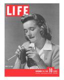 How to Knit, November 24, 1941 Fotografie-Druck von Gjon Mili