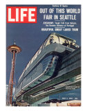 Monorail and Space Needle at World's Fair in Seattle, May 4, 1962 Premium Photographic Print by Ralph Crane