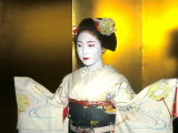 Close-up of Geisha Girl in Gold, Kyoto, Japan Photographic Print by Bill Bachmann