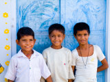 Children Against Blue Wall in Jaipur, Rajasthan, India Photographic Print by Bill Bachmann