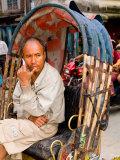 Portrait of Rickshaw Driver, Jaipur, Rajasthan, India Photographie par Bill Bachmann