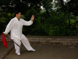Tai Chi on the Old City Wall, Xi'an, Shaanxi Province, China Photographic Print by Pete Oxford