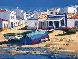 Barque Bleue a Alvor Affiche par Jean-Claude Quilici