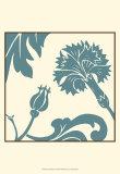 Teal Floral Motif II Prints by Chariklia Zarris