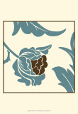 Teal Floral Motif I Posters by Chariklia Zarris