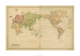 The World on Mercator's Projection Premium Giclee-trykk
